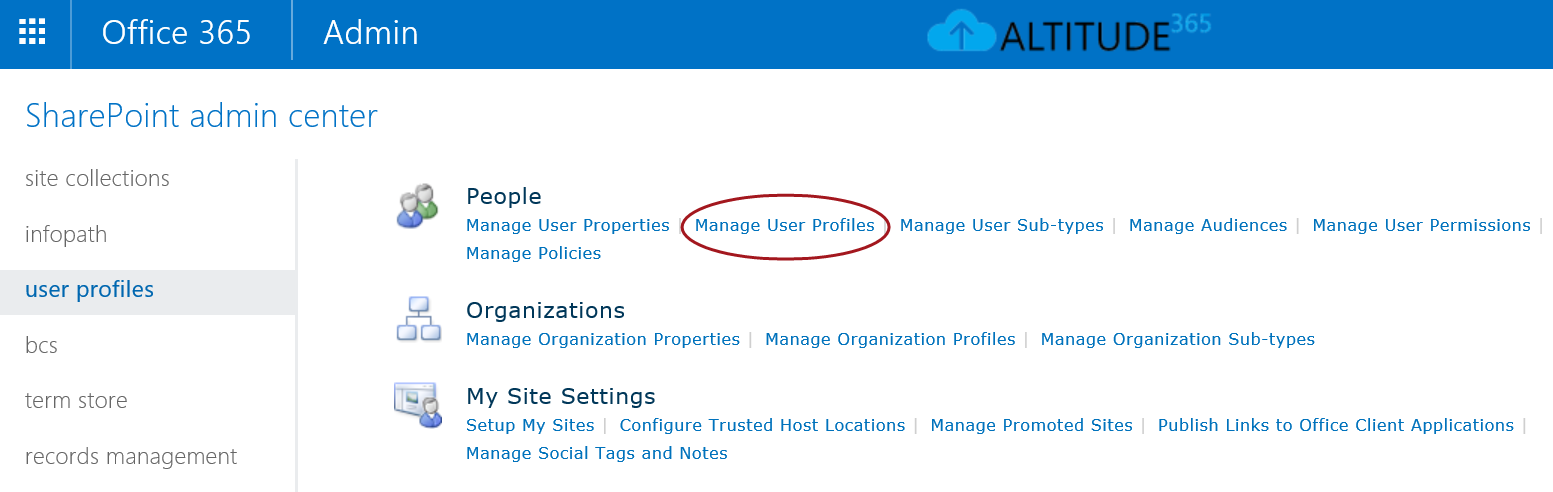 Admin access to users OneDrive for Business - Altitude365